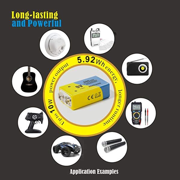 9v Batteries Rechargeable Li-ion 800mAh 4 Packs.