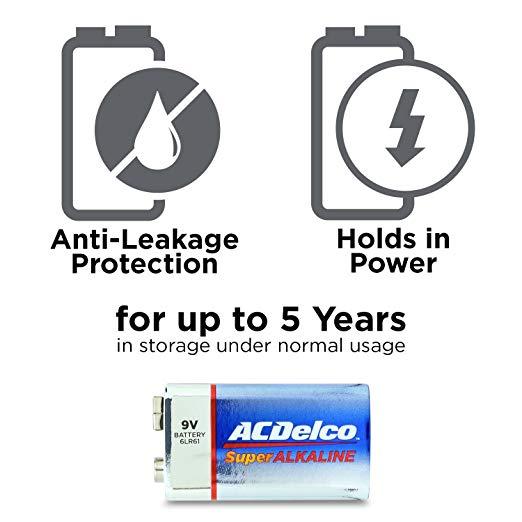 ACDelco 9 Volt Batteries, Super Alkaline Batteries