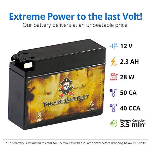 Chrome Battery YT4B-BS High Performance Sealed AGM ATV Battery