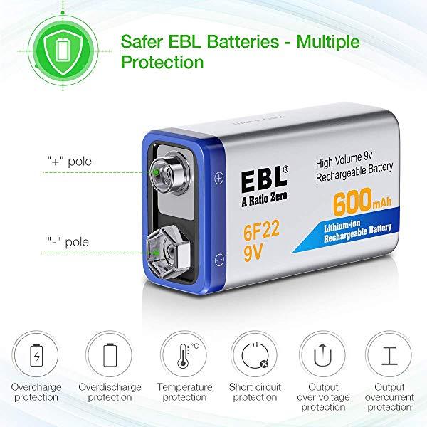 EBL 9 Volt Rechargeable Batteries Lithium ion