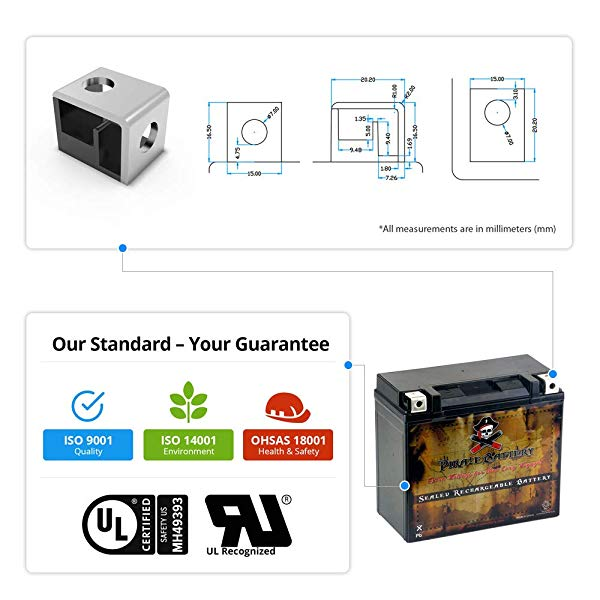 Pirate Battery YTX20L-BS High Performance ATV Battery