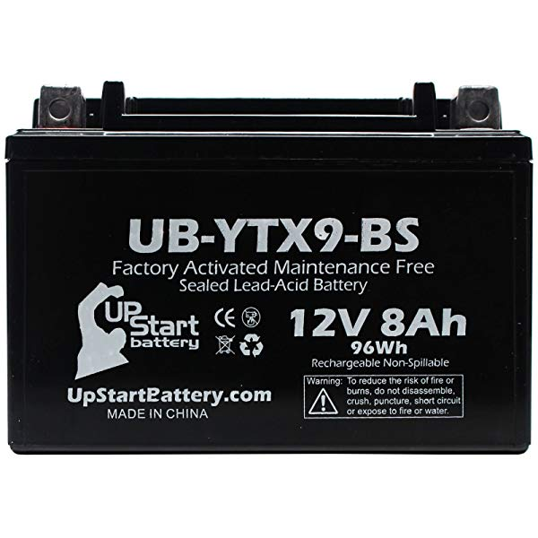 UpStart Battery YTX9-BS Replacement 12v AGM ATV Battery.