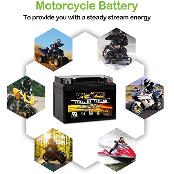 Weize YTX4L BS Rechargeable - Sealed AGM ATV Battery